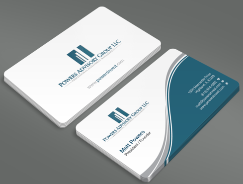 Powers Advisory Group LLC Business Cards and Stationery  Draft # 328 by waterdropdesign