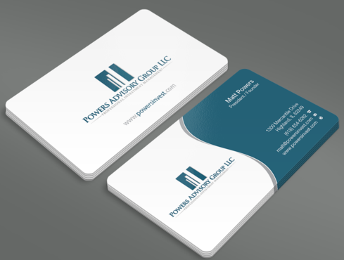 Powers Advisory Group LLC Business Cards and Stationery  Draft # 331 by waterdropdesign