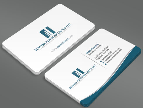 Powers Advisory Group LLC Business Cards and Stationery  Draft # 333 by waterdropdesign
