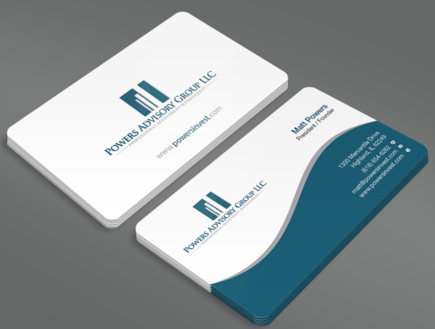 Powers Advisory Group LLC Business Cards and Stationery  Draft # 334 by waterdropdesign