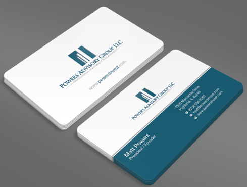 Powers Advisory Group LLC Business Cards and Stationery  Draft # 335 by waterdropdesign