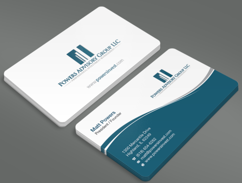 Powers Advisory Group LLC Business Cards and Stationery  Draft # 337 by waterdropdesign