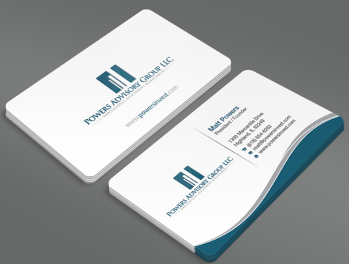 Powers Advisory Group LLC Business Cards and Stationery  Draft # 336 by waterdropdesign