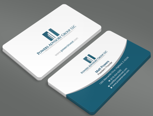 Powers Advisory Group LLC Business Cards and Stationery  Draft # 340 by waterdropdesign
