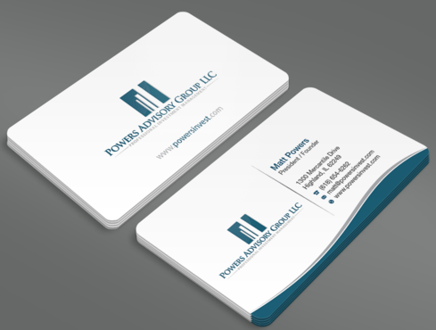 Powers Advisory Group LLC Business Cards and Stationery  Draft # 341 by waterdropdesign