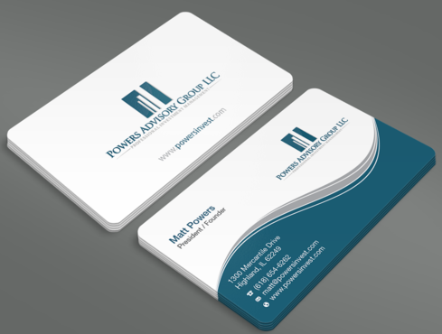 Powers Advisory Group LLC Business Cards and Stationery  Draft # 342 by waterdropdesign