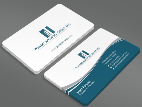 Powers Advisory Group LLC Business Cards and Stationery  Draft # 343 by waterdropdesign