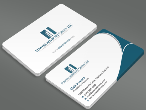 Powers Advisory Group LLC Business Cards and Stationery  Draft # 345 by waterdropdesign
