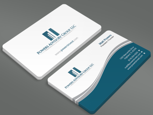 Powers Advisory Group LLC Business Cards and Stationery  Draft # 344 by waterdropdesign