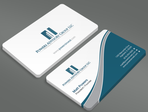 Powers Advisory Group LLC Business Cards and Stationery  Draft # 348 by waterdropdesign
