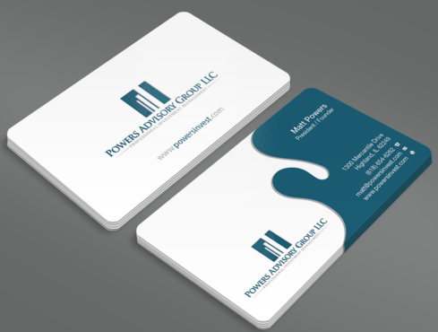 Powers Advisory Group LLC Business Cards and Stationery  Draft # 350 by waterdropdesign