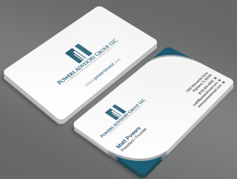 Powers Advisory Group LLC Business Cards and Stationery  Draft # 351 by waterdropdesign