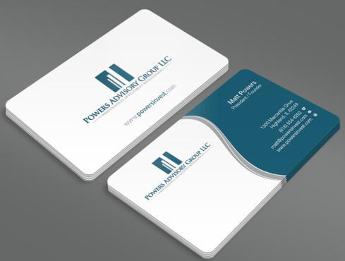 Powers Advisory Group LLC Business Cards and Stationery  Draft # 352 by waterdropdesign