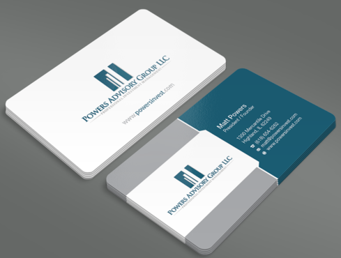 Powers Advisory Group LLC Business Cards and Stationery  Draft # 353 by waterdropdesign