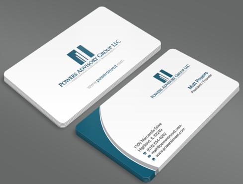 Powers Advisory Group LLC Business Cards and Stationery  Draft # 354 by waterdropdesign