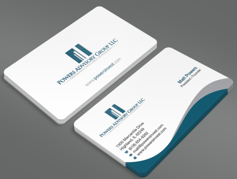 Powers Advisory Group LLC Business Cards and Stationery  Draft # 355 by waterdropdesign
