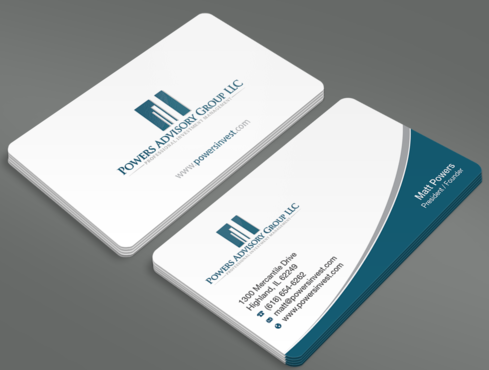 Powers Advisory Group LLC Business Cards and Stationery  Draft # 356 by waterdropdesign