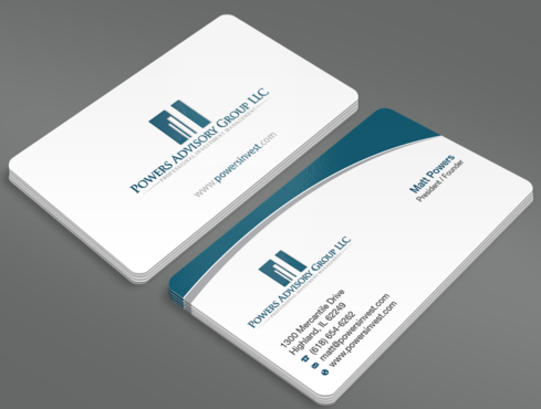 Powers Advisory Group LLC Business Cards and Stationery  Draft # 358 by waterdropdesign