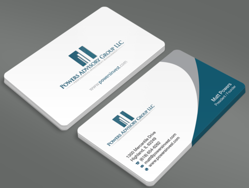 Powers Advisory Group LLC Business Cards and Stationery  Draft # 359 by waterdropdesign