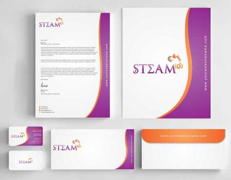 STEAMd Inc.  (Science, Technology, Engineering, Arts & Math development) Business Cards and Stationery  Draft # 233 by Dawson