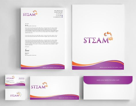 STEAMd Inc.  (Science, Technology, Engineering, Arts & Math development) Business Cards and Stationery  Draft # 282 by Dawson
