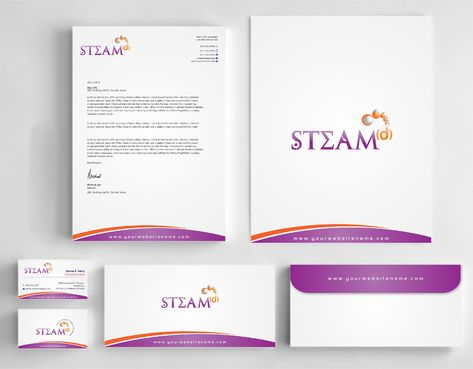 STEAMd Inc.  (Science, Technology, Engineering, Arts & Math development) Business Cards and Stationery  Draft # 283 by Dawson