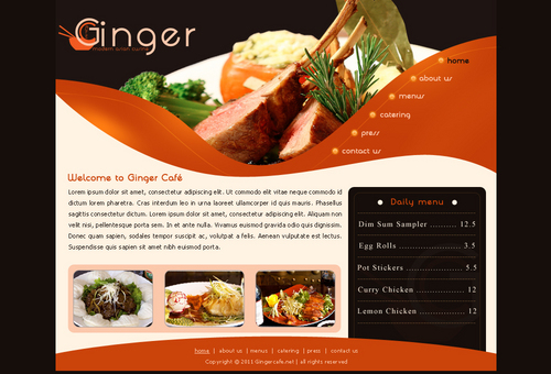 Ginger Cafe's Web Page Blog Design Template Winning Design by Alabady