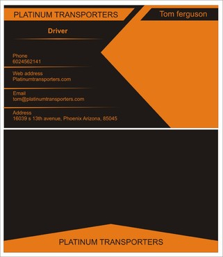 PLATINUM TRANSPORTERS Business Cards and Stationery  Draft # 299 by farzanahdesigner