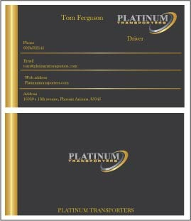 PLATINUM TRANSPORTERS Business Cards and Stationery  Draft # 300 by farzanahdesigner