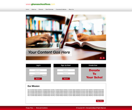 Template needed for a school fee payment site. Web Design  Draft # 32 by MaazDesigns