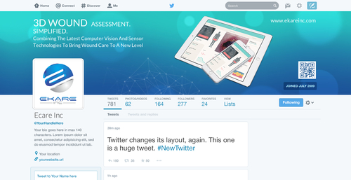 facebook/twitter page design for a medical device start-up