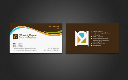 Business card for an outdoor living and landscaping company by karils second nature outdoor living and landscaping business cards and stationery winning design by einsanimation reheart Image collections
