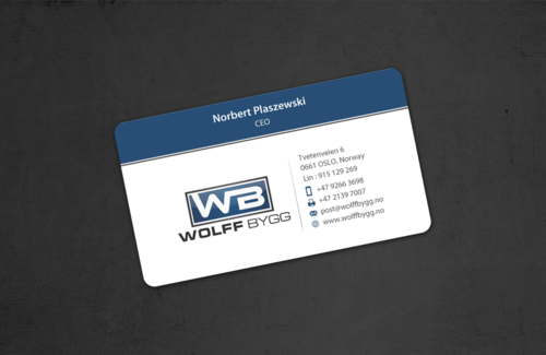 Buiness cards for wolff bygg as Business Cards and Stationery  Draft # 185 by einsanimation
