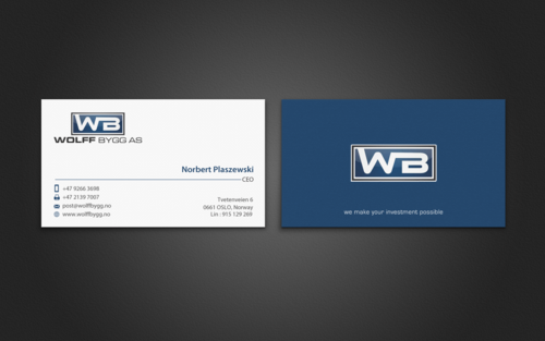 Buiness cards for wolff bygg as Business Cards and Stationery  Draft # 192 by einsanimation