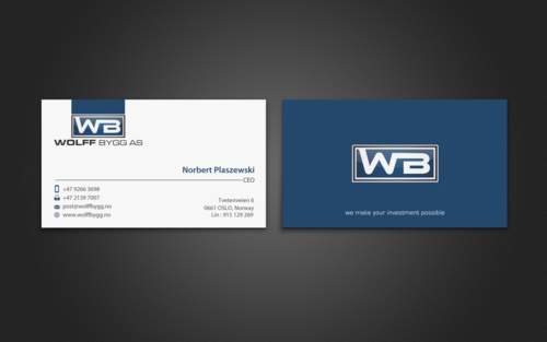 Buiness cards for wolff bygg as Business Cards and Stationery  Draft # 194 by einsanimation
