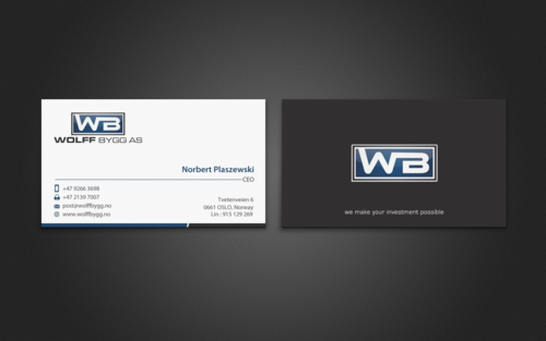 Buiness cards for wolff bygg as Business Cards and Stationery  Draft # 193 by einsanimation