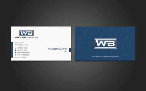 Buiness cards for wolff bygg as Business Cards and Stationery  Draft # 197 by einsanimation