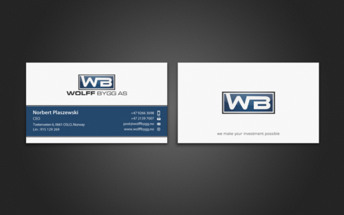 Buiness cards for wolff bygg as Business Cards and Stationery  Draft # 199 by einsanimation