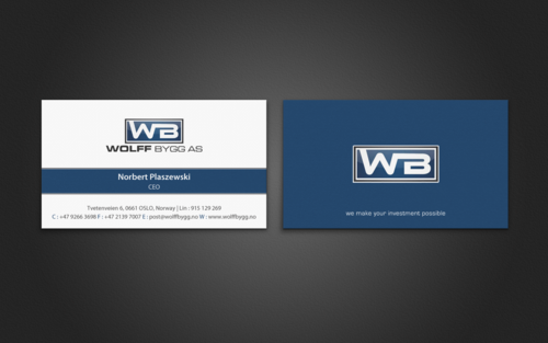 Buiness cards for wolff bygg as Business Cards and Stationery  Draft # 200 by einsanimation