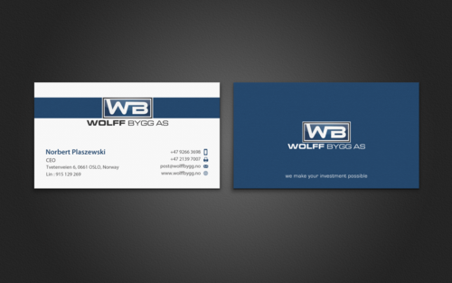 Buiness cards for wolff bygg as Business Cards and Stationery  Draft # 201 by einsanimation