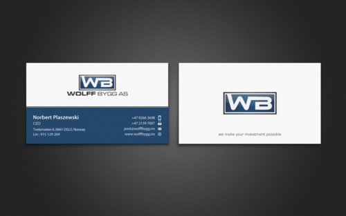 Buiness cards for wolff bygg as Business Cards and Stationery  Draft # 202 by einsanimation
