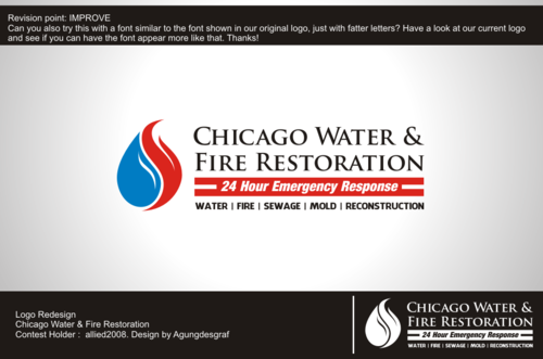Chicago Water & Fire Restoration (two lines one on top of other separated at end of & symbol) A Logo, Monogram, or Icon  Draft # 394 by agungdesgraf