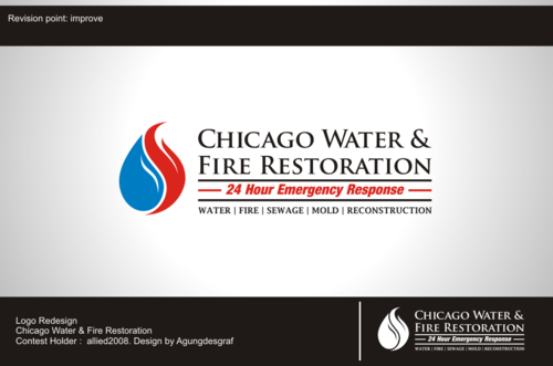 Chicago Water & Fire Restoration (two lines one on top of other separated at end of & symbol) A Logo, Monogram, or Icon  Draft # 468 by agungdesgraf