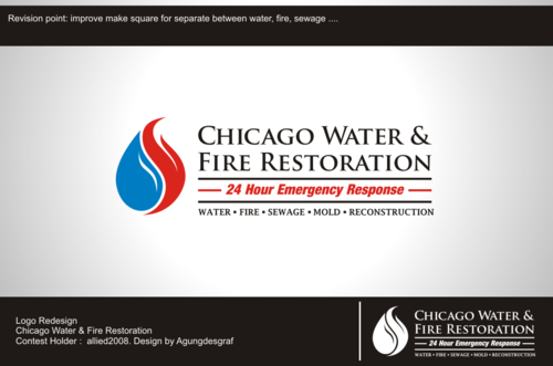 Chicago Water & Fire Restoration (two lines one on top of other separated at end of & symbol) A Logo, Monogram, or Icon  Draft # 538 by agungdesgraf