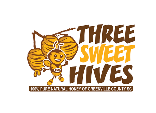 3 bee hives, a bee and or honey comb Logo Winning Design by mnorth