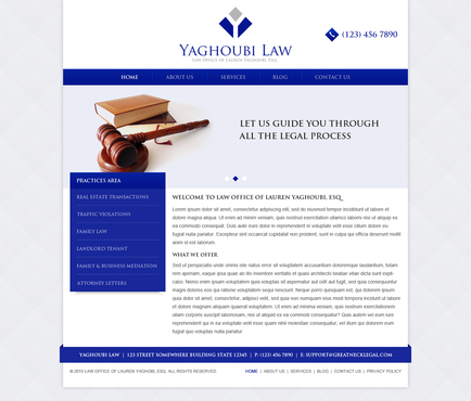 Yaghoubi Law: Lauren Yaghoubi, Esq. Complete Web Design Solution Winning Design by legimin