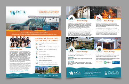 Restoration Contractors of America, Inc Marketing collateral Winning Design by Achiver