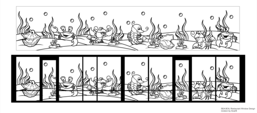 SEA BOIL Restaurant Window Design Graphic Illustration  Draft # 25 by Scarl8