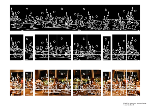 SEA BOIL Restaurant Window Design Graphic Illustration  Draft # 26 by Scarl8