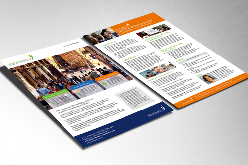 Design a single page double sided brochure that mirrors excisting website